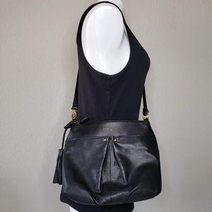 Tignanello | Leather Black Crossbody Tassel Bag